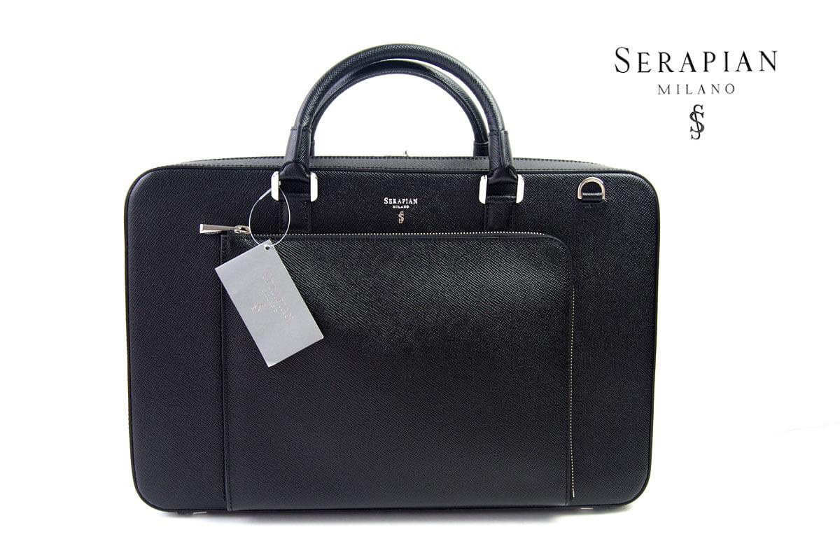 セラピアンミラノ|Serapian Milano|2WAYスリムブリーフケース|SEVOEWLL6634-M40-A001|ブラック イメージ01