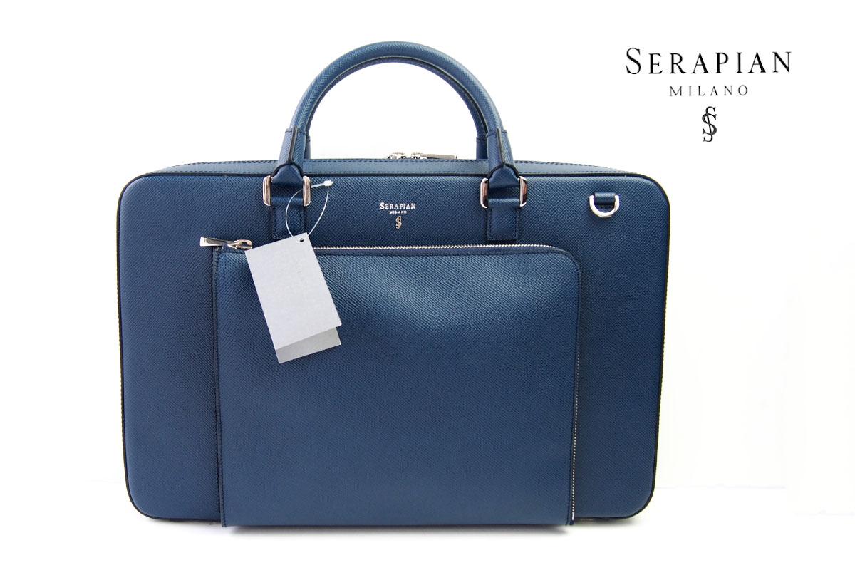 セラピアンミラノ|Serapian Milano|2WAYスリムブリーフケース|SEVOEWLL6634-M40-A022|ネイビー イメージ01
