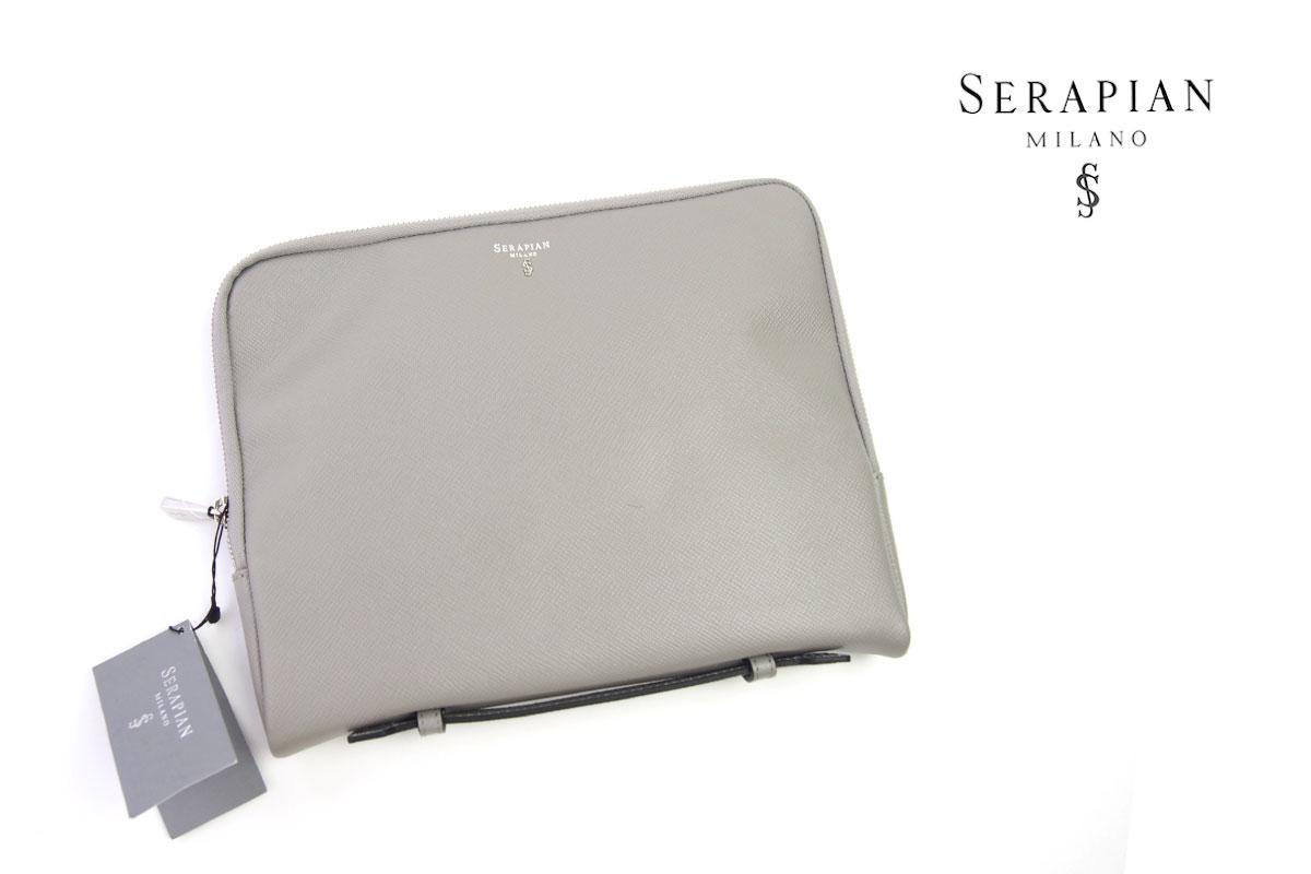 セラピアンミラノ|Serapian Milano|ハンドル付きクラッチバッグ|タブレットケース|SEVOEWLL6011-M26|ライトグレイ イメージ01