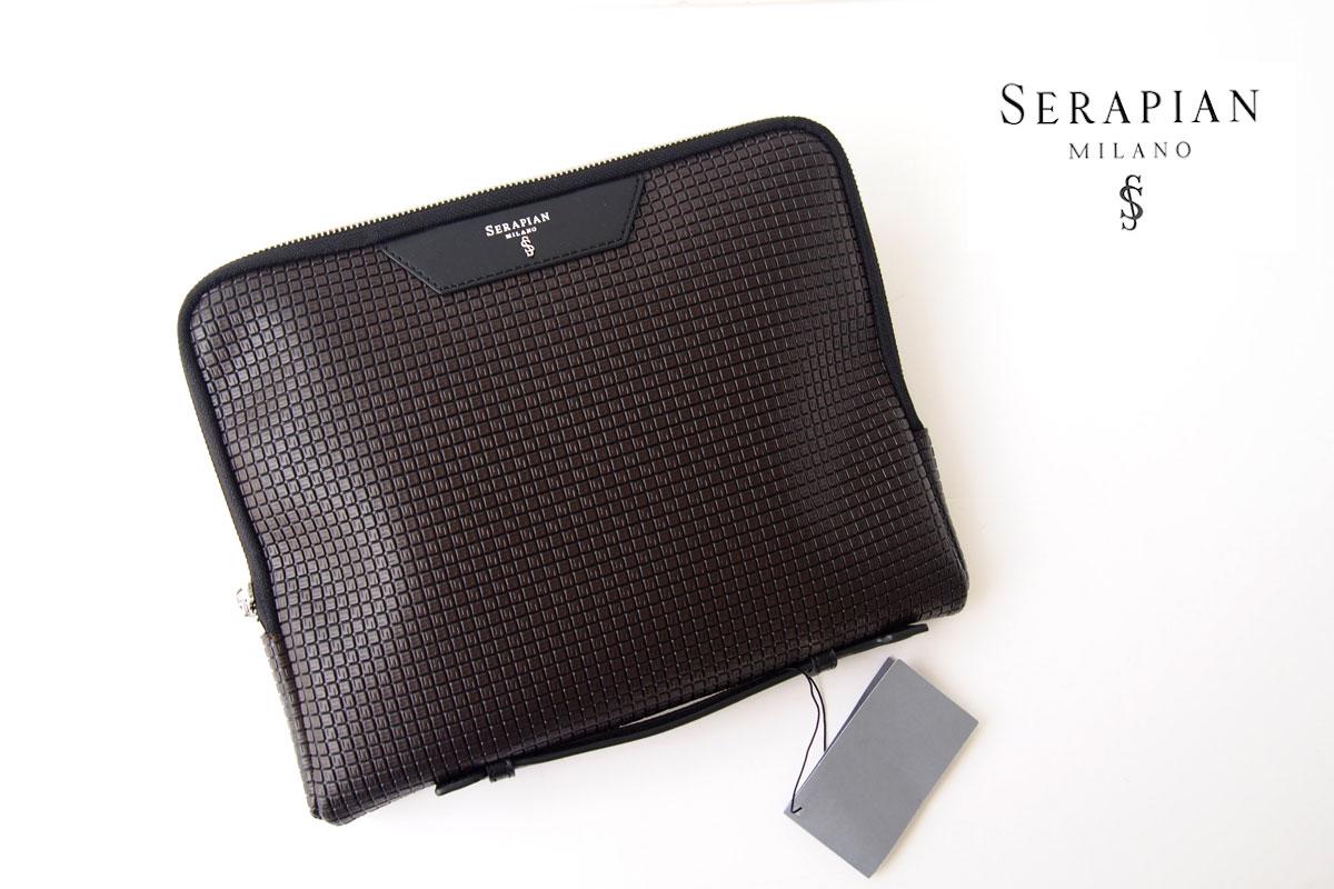 セラピアンミラノ|Serapian Milano|ハンドル付きクラッチバッグ|タブレットケース|PVC|ブラウン×ブラックイメージ01