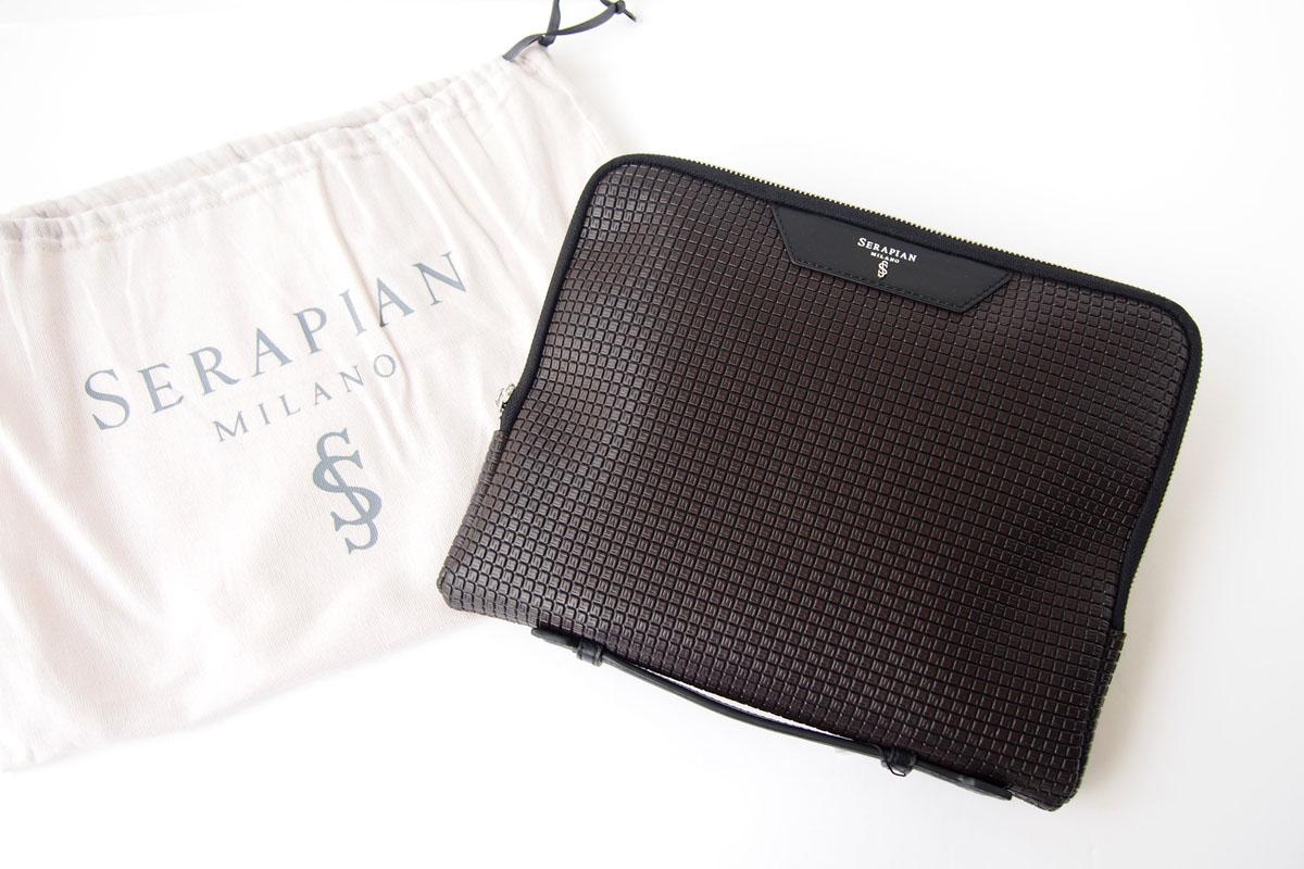 セラピアンミラノ|Serapian Milano|ハンドル付きクラッチバッグ|タブレットケース|PVC|ブラウン×ブラックイメージ010