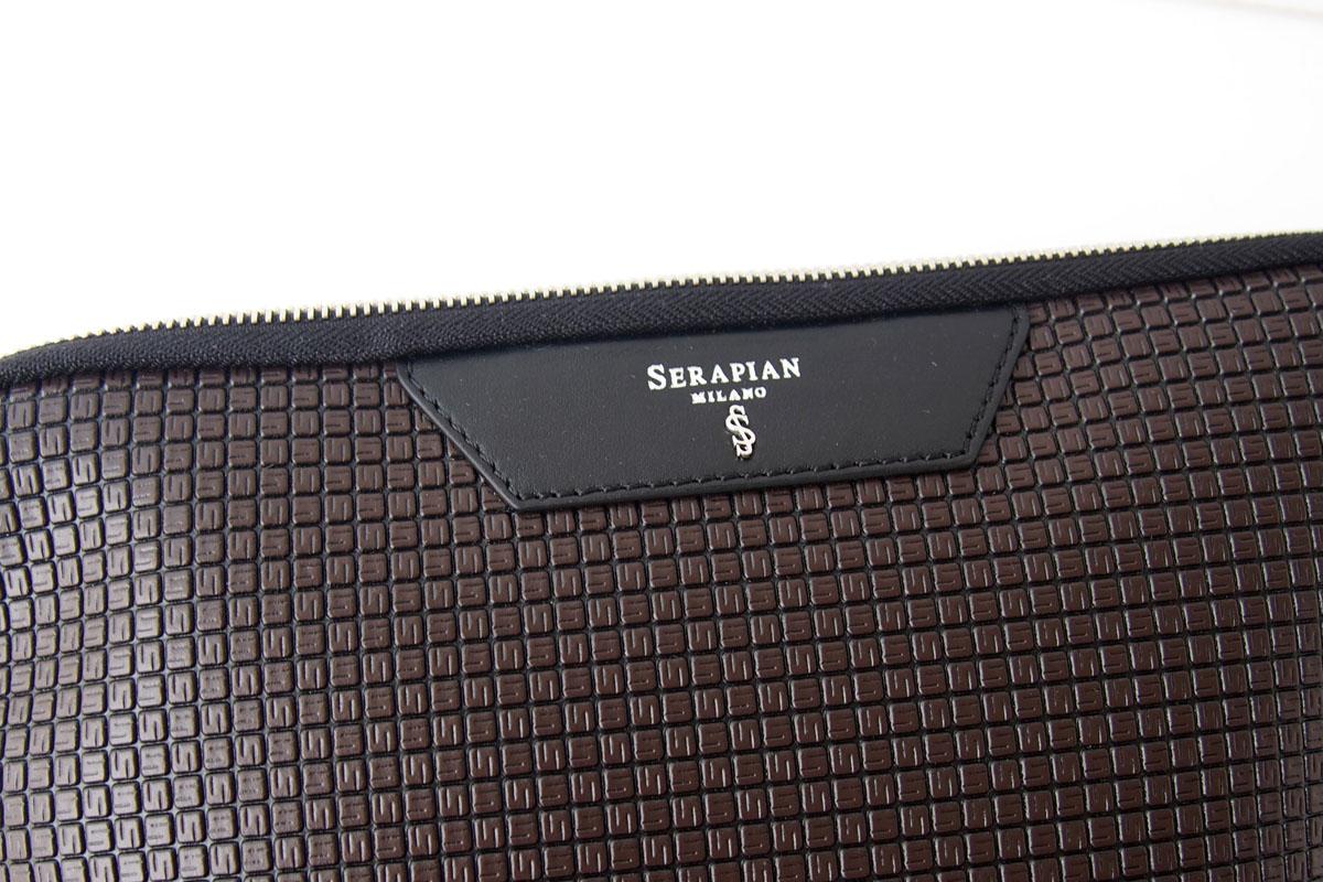 セラピアンミラノ|Serapian Milano|ハンドル付きクラッチバッグ|タブレットケース|PVC|ブラウン×ブラックイメージ02