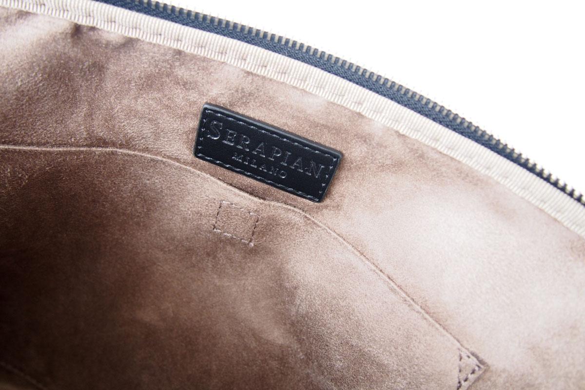セラピアンミラノ|Serapian Milano|ハンドル付きクラッチバッグ|タブレットケース|PVC|ブラウン×ブラックイメージ08