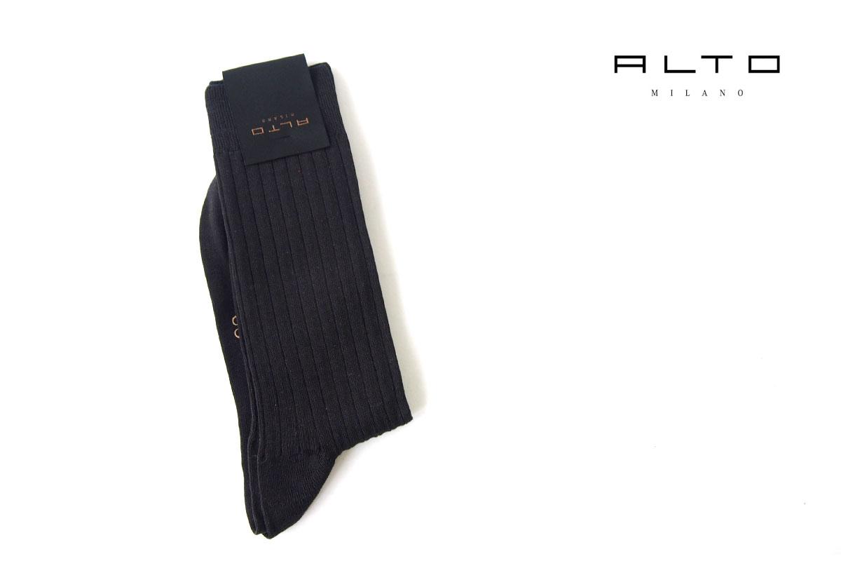 アルト|ALTO|クルー丈リブソックス|39-42|ブラックイメージ01