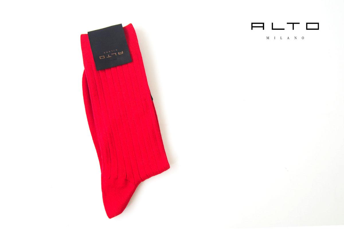アルト|ALTO|クルー丈リブソックス|39-42|レッドイメージ01