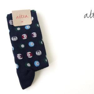 アルティア|ALTEA|ロングホーズソックス|ビリヤード柄|ワンサイズ|ネイビーイメージ01