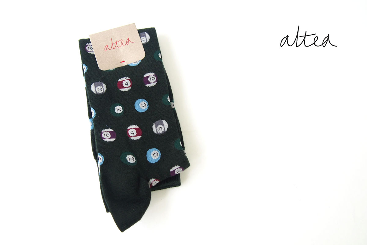 アルティア|ALTEA|ロングホーズソックス|ビリヤード柄|ワンサイズ|グリーンイメージ01