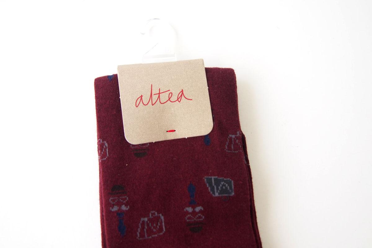 アルティア|ALTEA|ロングホーズ柄ソックス|ワンサイズ|ボルドーイメージ02