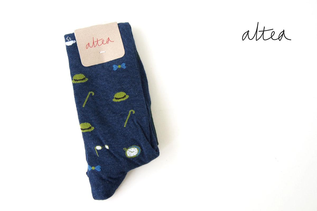 アルティア|ALTEA|ロングホーズ柄ソックス|ワンサイズ|ブルーイメージ01