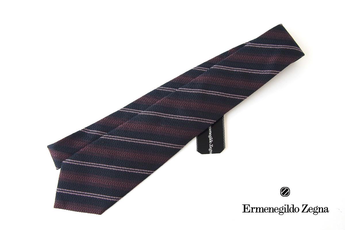 エルメネジルド・ゼニア|Ermenegildo Zegna|レジメンタルシルクネクタイ|クチュールコレクション|ネイビー×パープルイメージ01