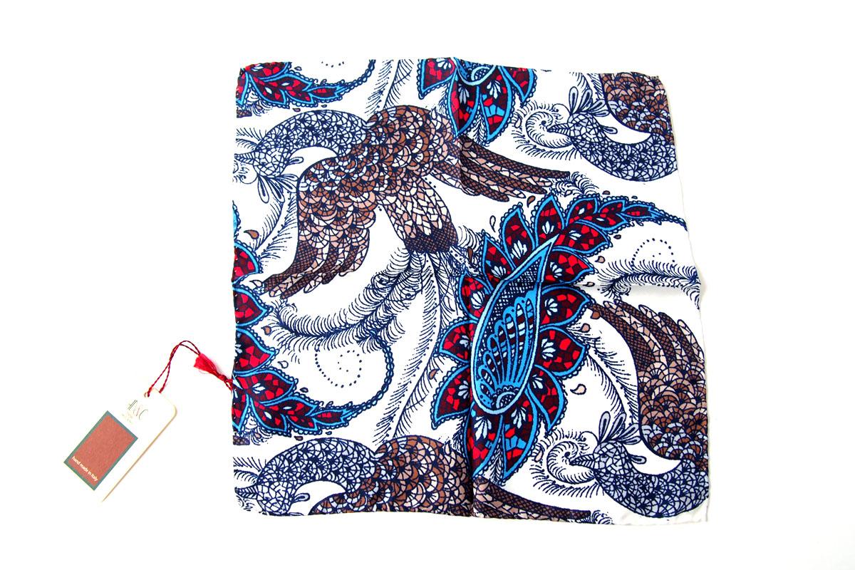 アーディアンドシー|AD&C|シルク ポケットチーフ(ブルー×ホワイト)イメージ03