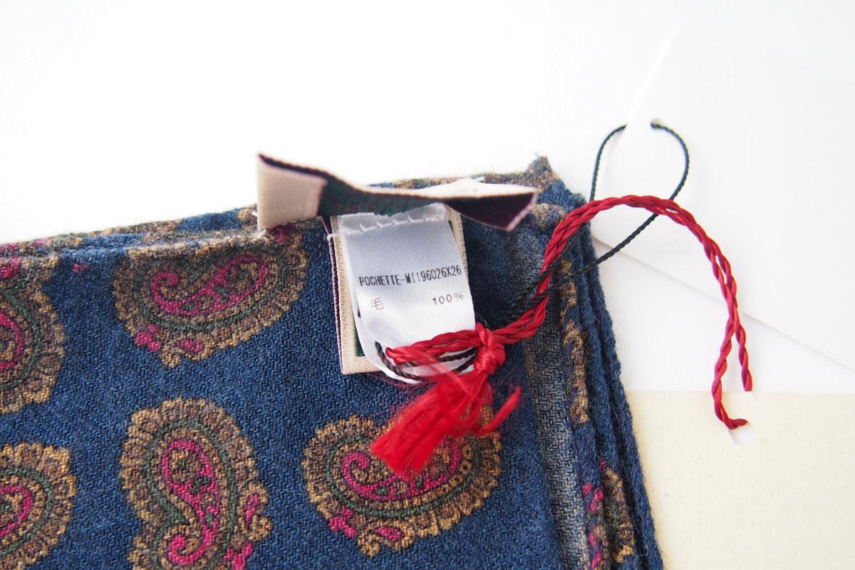 アーディアンドシー|AD&C|ペイズリー柄 ウール ポケットチーフ(ネイビー)イメージ04