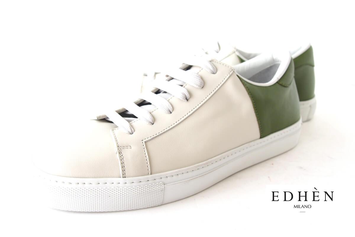 エデン|EDHEN MILANO|レザースニーカー|グリーン×ホワイトイメージ01
