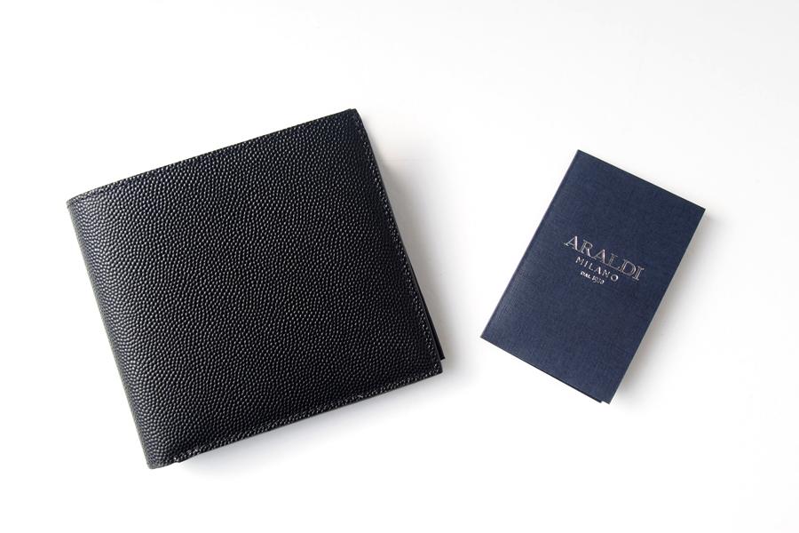 アラルディ|ARALDI 1930|キャビアレザー小銭入れ付き二つ折財布|ウォレット|NERO|ブラック|P351イメージ09