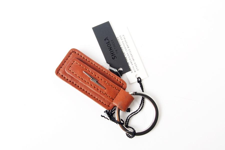 シャイノラ|shinola|キーリング|Metal Lightning Bolt Tan Leather Keychain|ライトブラウンイメージ06