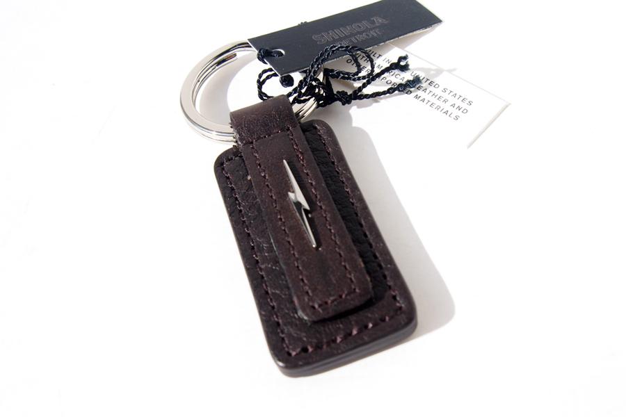 シャイノラ|shinola|キーリング|Metal Lightning Bolt Leather Keychain|ダークブラウンイメージ03
