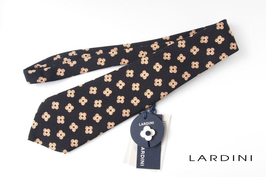 ラルディーニ|LARDINI|ブートニエール柄 シルク混 ウールシルクネクタイ|ブラックイメージ01