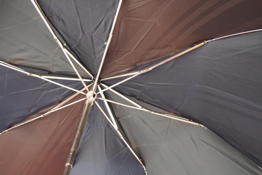【中古】マリア・フランチェスコ Maglia Francesco マルチストライプ アンブレラ 折りたたみ傘 ネイビー×ブラウン×グリーンイメージ02