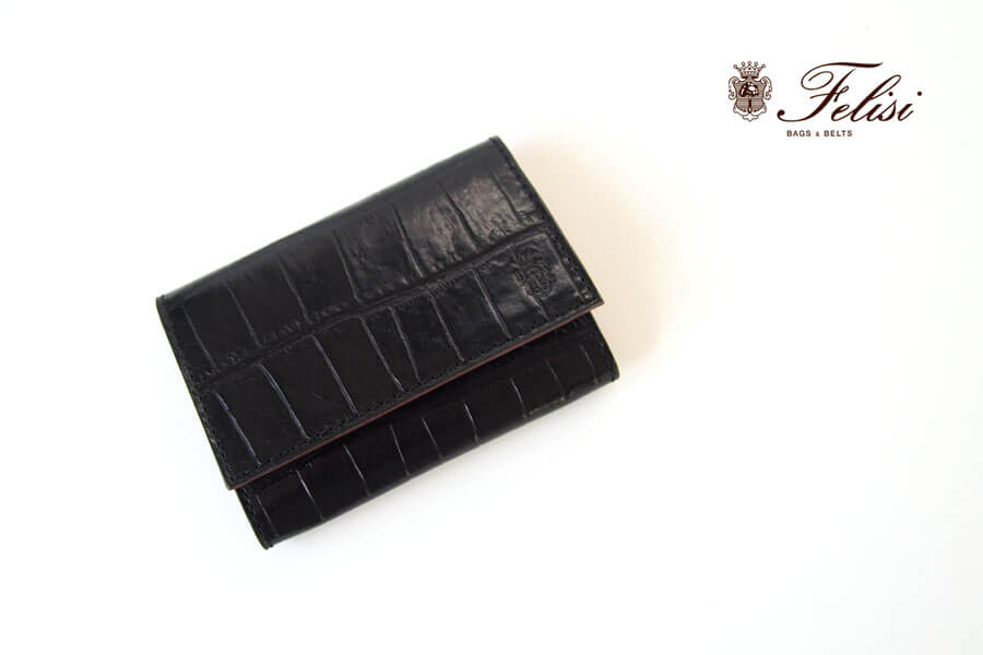フェリージ|Felisi|クロコ型押しエンボスレザー|カードケース|名刺入れ|450/SA|ブラックイメージ01