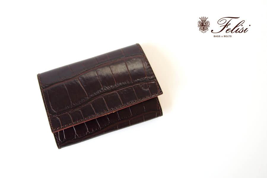 フェリージ Felisi クロコ型押しエンボスレザー カードケース 名刺入れ 450/SA ブラウンイメージ01