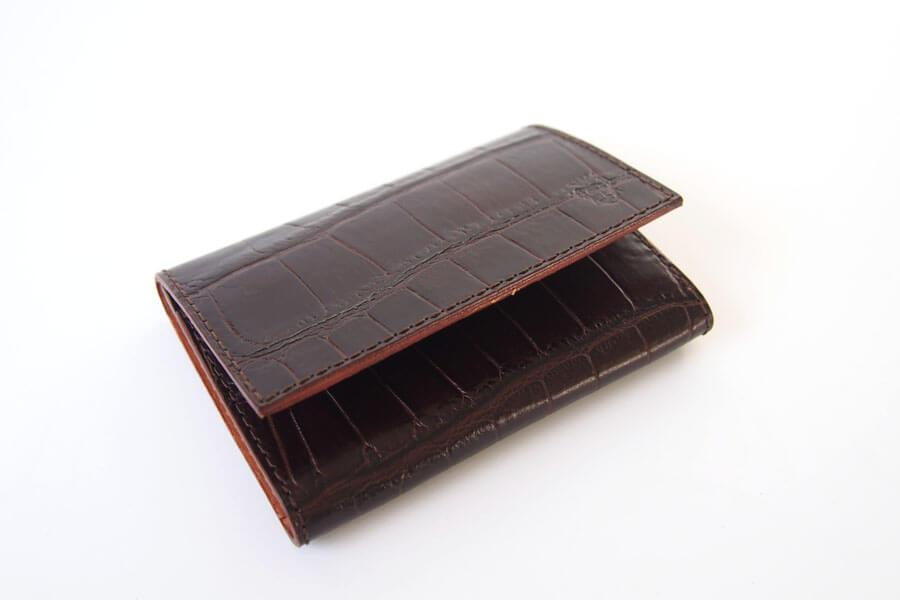フェリージ|Felisi|クロコ型押しエンボスレザー|カードケース|名刺入れ|450/SA|ブラウンイメージ03