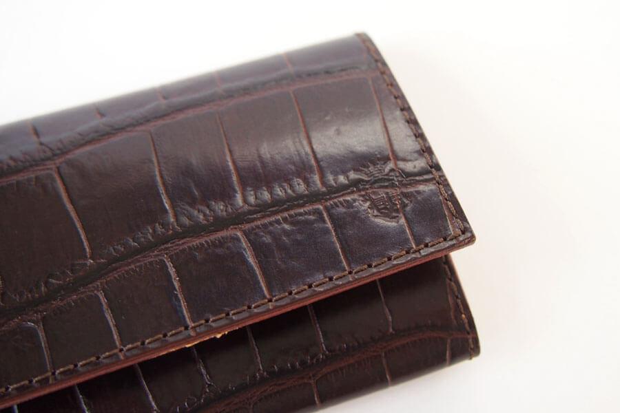 フェリージ Felisi クロコ型押しエンボスレザー カードケース 名刺入れ 450/SA ブラウンイメージ06