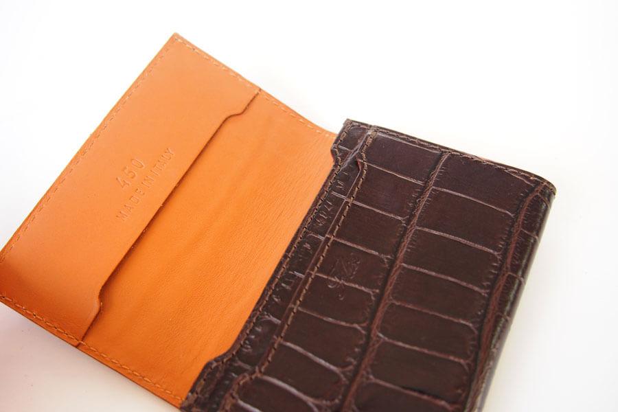 フェリージ Felisi クロコ型押しエンボスレザー カードケース 名刺入れ 450/SA ブラウンイメージ07