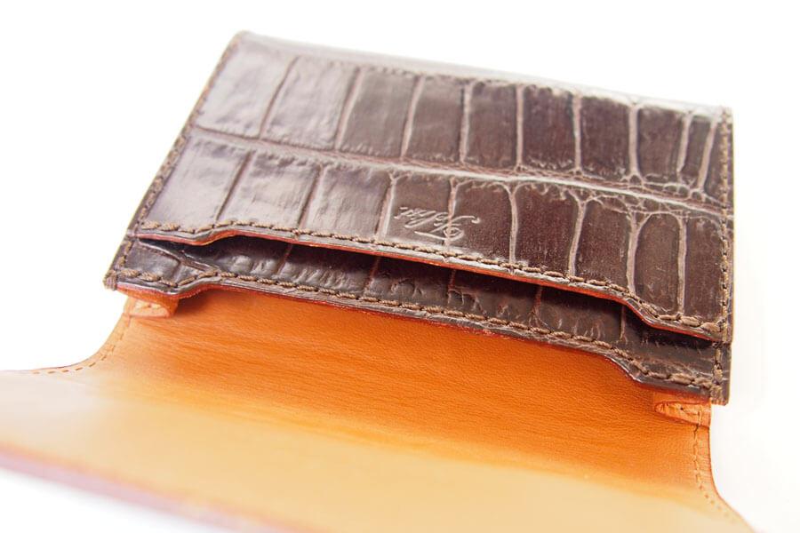 フェリージ Felisi クロコ型押しエンボスレザー カードケース 名刺入れ 450/SA ブラウンイメージ08