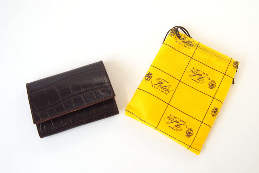 フェリージ Felisi クロコ型押しエンボスレザー カードケース 名刺入れ 450/SA ブラウンイメージ09