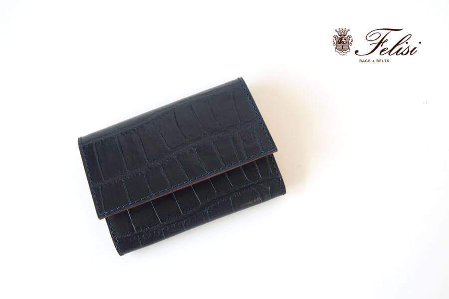 フェリージ|Felisi|クロコ型押しエンボスレザー|カードケース|名刺入れ|450/SA|ネイビーイメージ01