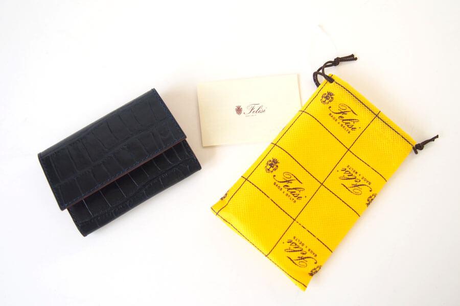 フェリージ|Felisi|クロコ型押しエンボスレザー|カードケース|名刺入れ|450/SA|ネイビーイメージ010