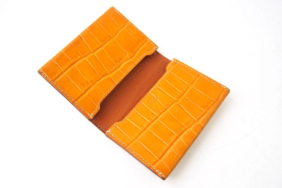 フェリージ Felisi クロコ型押しエンボスレザー カードケース 名刺入れ 909/SA ライトブラウンイメージ02