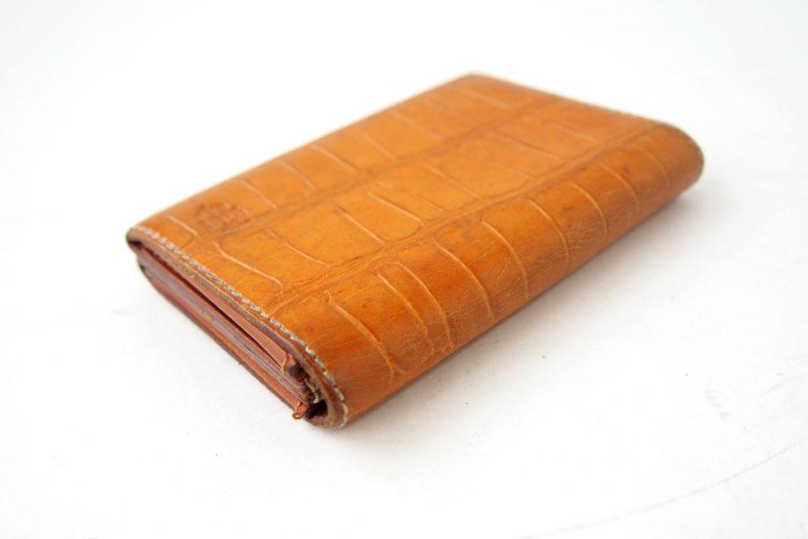 フェリージ Felisi クロコ型押しエンボスレザー カードケース 名刺入れ 909/SA ライトブラウンイメージ03