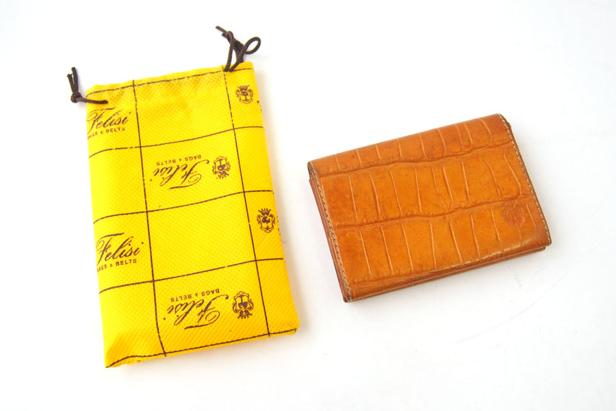 フェリージ Felisi クロコ型押しエンボスレザー カードケース 名刺入れ 909/SA ライトブラウンイメージ06