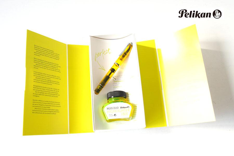ペリカン|Pelikan|M205 DUO イエローデモンストレーター|万年筆 ペン先BB |シャイニーイエロー専用インク30ml セットイメージ01
