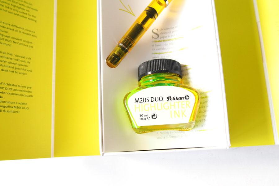 ペリカン|Pelikan|M205 DUO イエローデモンストレーター|万年筆 ペン先BB |シャイニーイエロー専用インク30ml セットイメージ03