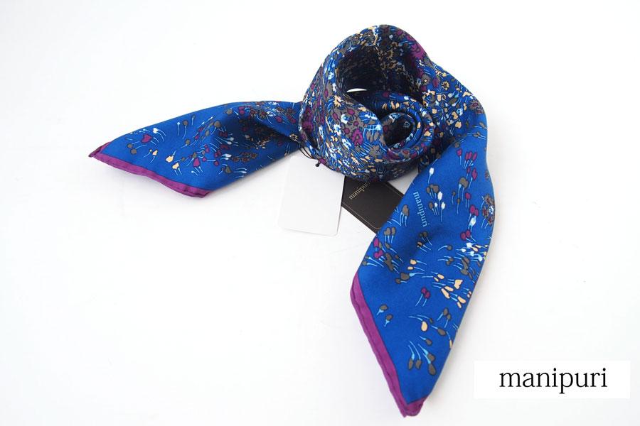 マニプリ|manipuri|プリントシルクスカーフ|ブルー×バイオレット|53cm×53cmイメージ01