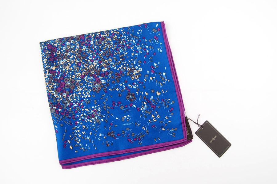 マニプリ|manipuri|プリントシルクスカーフ|ブルー×バイオレット|53cm×53cmイメージ02