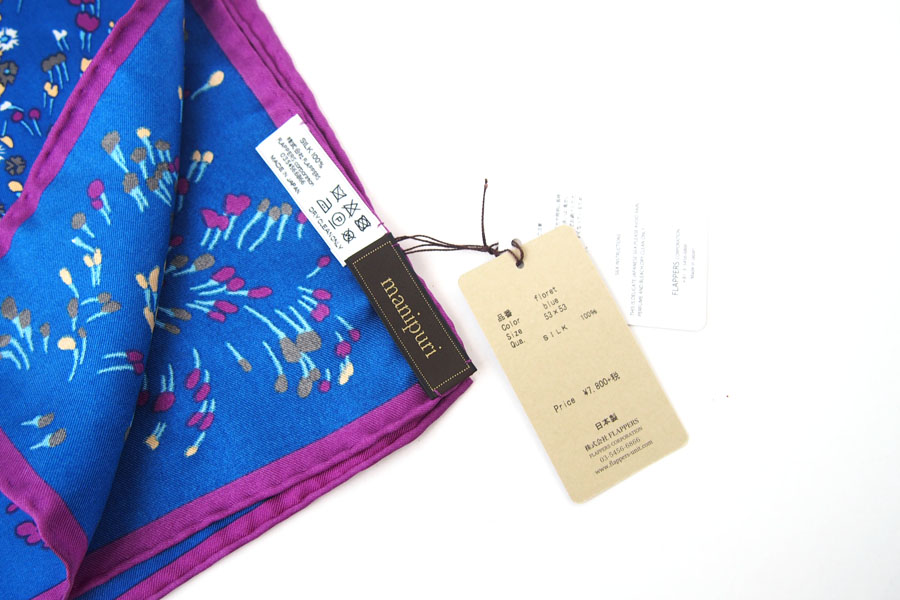 マニプリ|manipuri|プリントシルクスカーフ|ブルー×バイオレット|53cm×53cmイメージ04