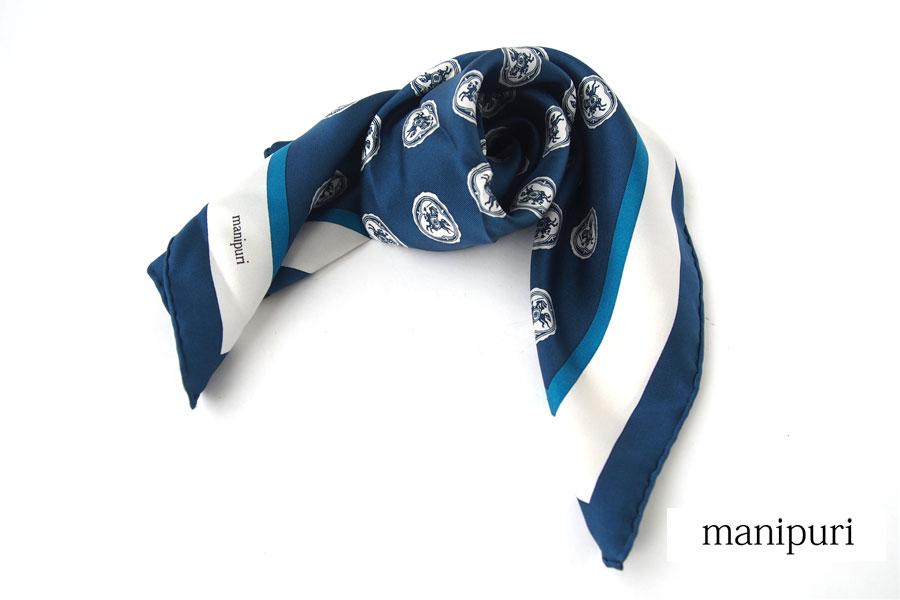 マニプリ|manipuri|プリントシルクスカーフ|ブルー|53cm×53cmイメージ01