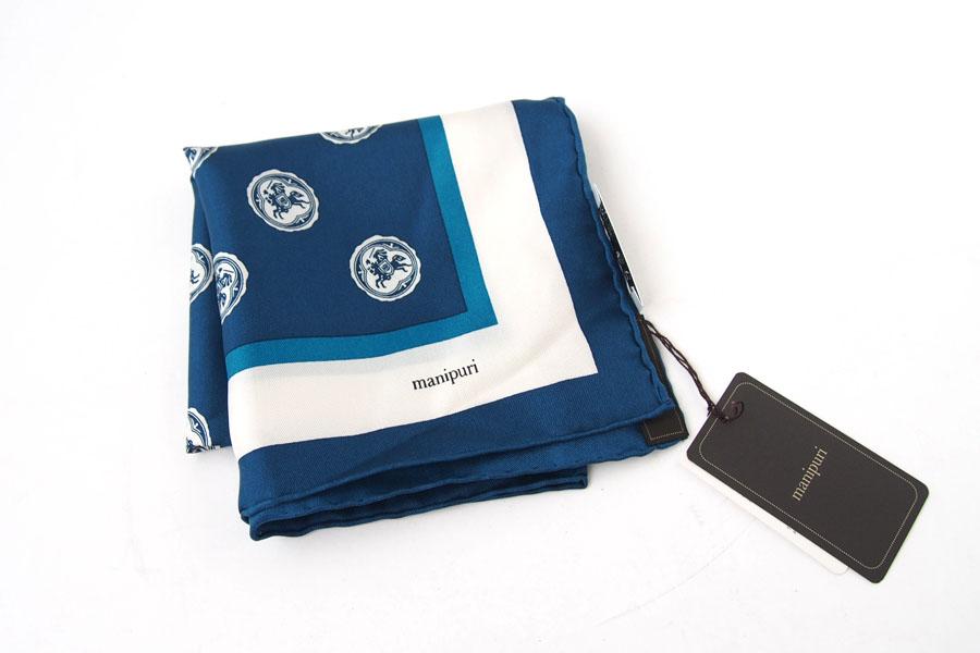 マニプリ|manipuri|プリントシルクスカーフ|ブルー|53cm×53cmイメージ02