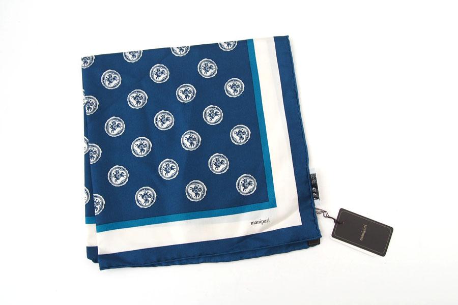 マニプリ|manipuri|プリントシルクスカーフ|ブルー|53cm×53cmイメージ03
