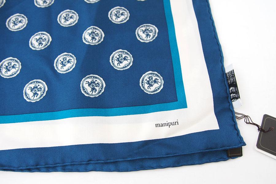 マニプリ|manipuri|プリントシルクスカーフ|ブルー|53cm×53cmイメージ04