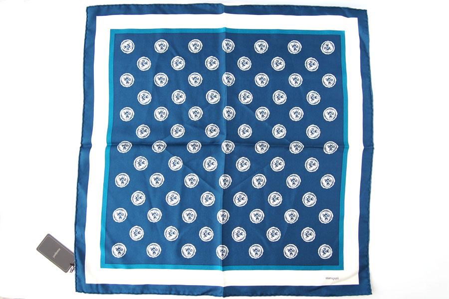 マニプリ|manipuri|プリントシルクスカーフ|ブルー|53cm×53cmイメージ06