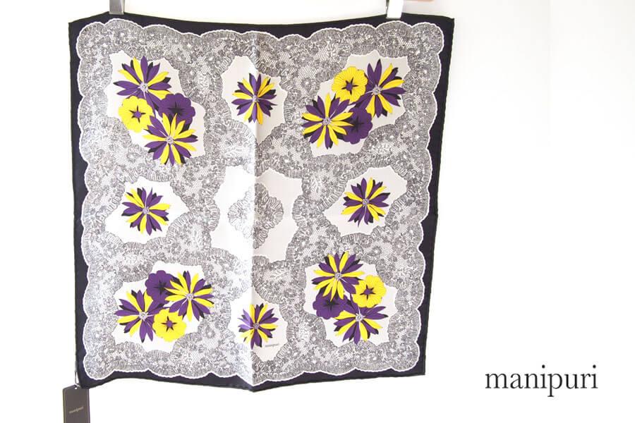 マニプリ manipuri プリントシルクスカーフ ベージュ×バイオレットイメージ01
