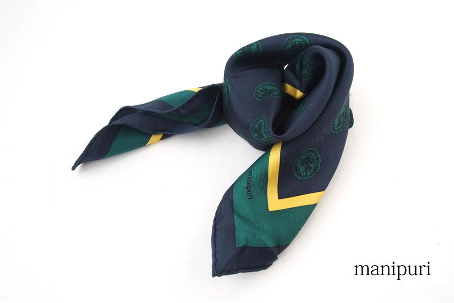 マニプリ|manipuri|プリントシルクスカーフ|グリーン|53cm×53cmイメージ01