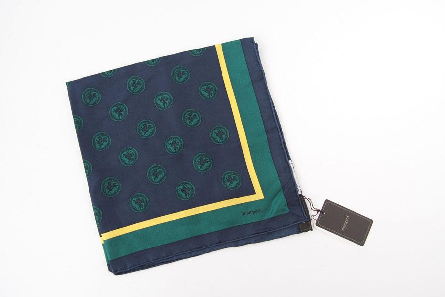 マニプリ|manipuri|プリントシルクスカーフ|グリーン|53cm×53cmイメージ02