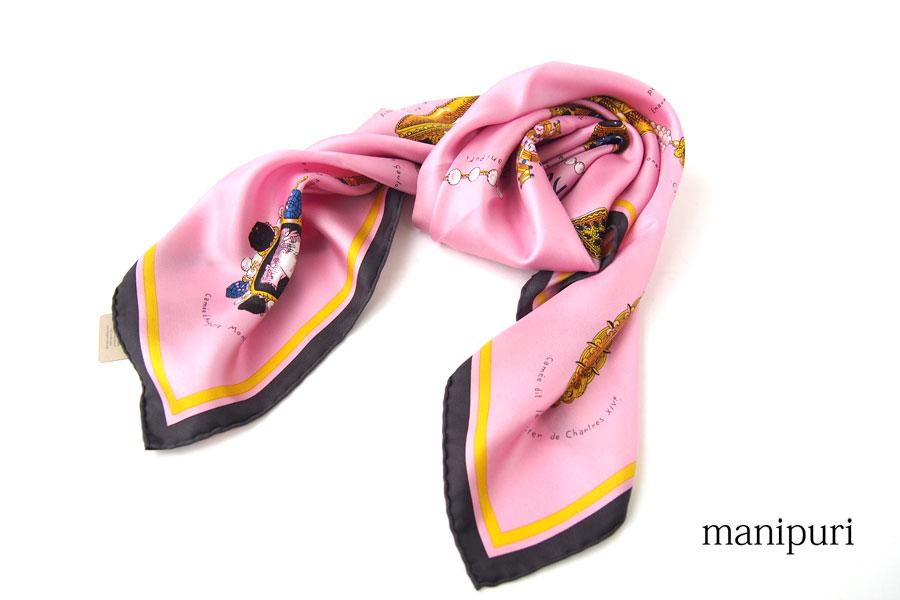 マニプリ|manipuri|プリントシルクスカーフ|BIJOUX|ピンク|88cm×88cmイメージ01