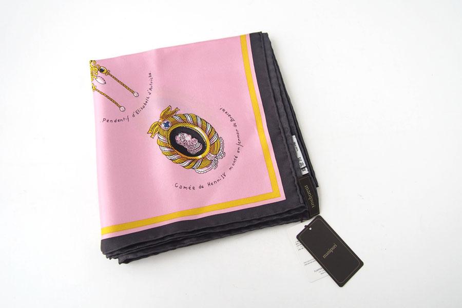 マニプリ|manipuri|プリントシルクスカーフ|BIJOUX|ピンク|88cm×88cmイメージ02