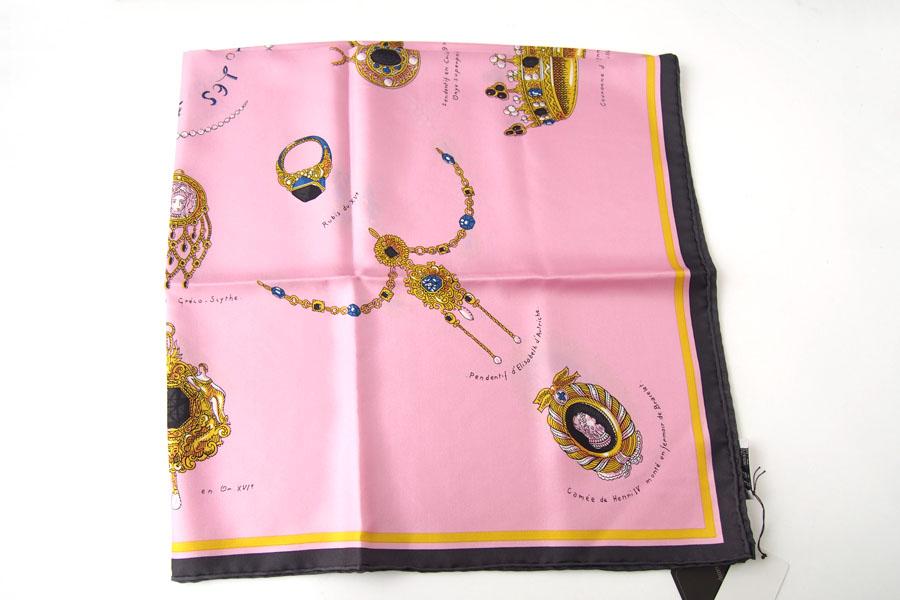マニプリ|manipuri|プリントシルクスカーフ|BIJOUX|ピンク|88cm×88cmイメージ04